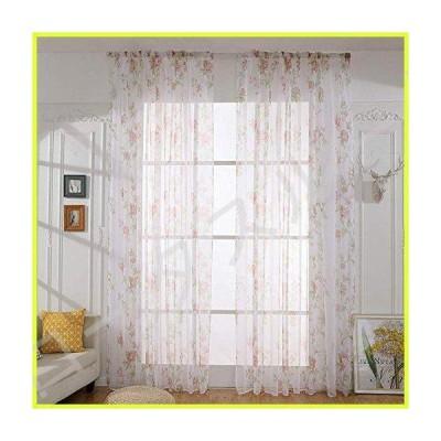 JGFJLO Elegant Transparent Curtains, Sheer Voile Flower Patterns Window Drape for Bedroom Living Room Girl Room Decor-red W200xh270cm(79x106