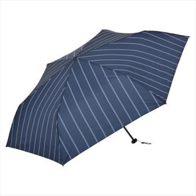 晴雨兼用 折りたたみ傘 カーボン軽量ミニ55 ストライプ ネイビー ニフティカラーズ