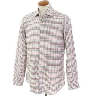 ベルベスト Belvest チェック柄 コットン セミワイドカラーシャツ ホワイト×ブルーグレー×ブラウン系 40