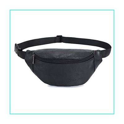 """【新品】AuSion Large Fanny Pack, Waterproof PU Leather Walking Travel Waist Bag Idea for Men and Women, Fully Adjustable Strap 31"""" to 47"""" - 3 Zipp"""