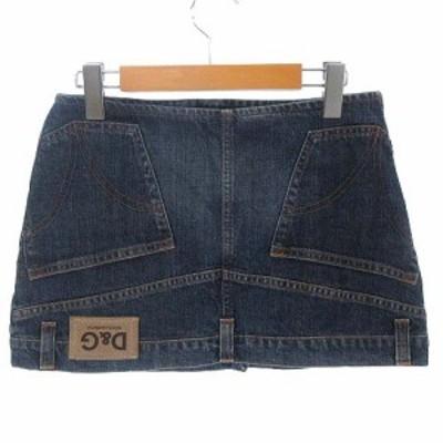 【中古】ディー&ジー ドルガバ ドルチェ&ガッバーナ D&G 逆さデザイン デニム ミニ スカート セミタイト インディゴ