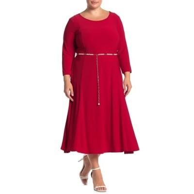 ニナレオナルド レディース ワンピース トップス 3/4 Sleeve Pearl Waist Dress NINA RED