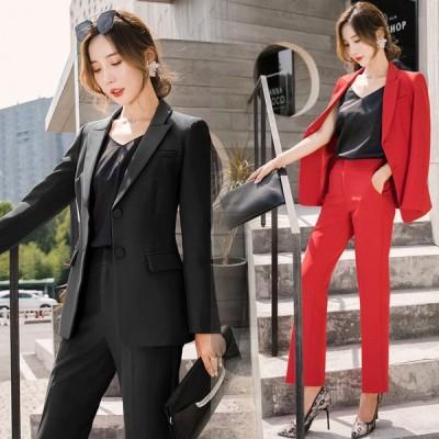 ブラック フォーマル スーツ レディース 大きいサイズ パンツスーツ 春秋 通勤 OL ビジネススーツ 2点セット オフィススーツ 赤 セレモニースーツ