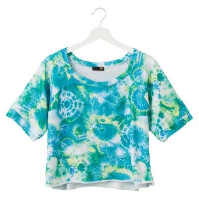 ヘムロールTシャツ【グリーンイエロー】