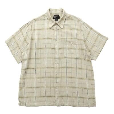 リネン 半袖シャツ チェック ベージュ サイズ表記:XL
