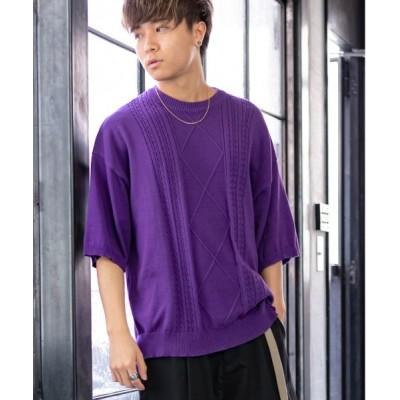 ニット ケーブル編み コットン オーバーサイズ 5分袖 サマー セーター