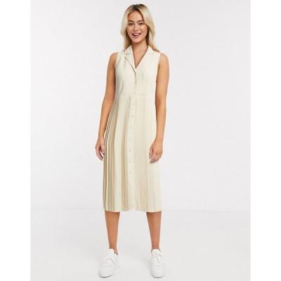 セレクテッド ミディドレス レディース Selected Femme pleated midi dress in cream エイソス ASOS