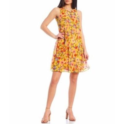 カルバンクライン レディース ワンピース トップス Sleeveless Floral Trapeze Dress Golden/Porcelain Rose Multi