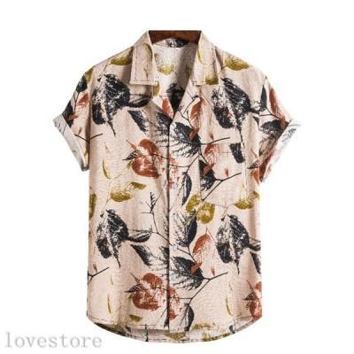 シャツ メンズ リネンシャツ 半袖 夏 プリント 花柄 総柄 柔らか お肌に優しい 薄い 速乾 汗染み防止 通気 涼しい 韓国風 おしゃれ