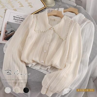 レースブラウス  女性シャツ 韓国ファッショントップス 優雅 ゆったり 着瘦せ効果 レディースZY1341