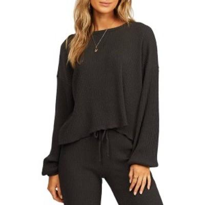 ビラボン レディース シャツ トップス Billabong Women's Come Through Rib Long Sleeve Shirt Off Black