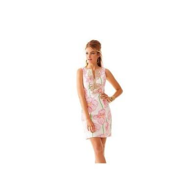 ワンピース リリーピュリッツァー Lilly Pulitzer Janice Shift Resort White Pink Clover Cup Dress Sizes 2 4 6