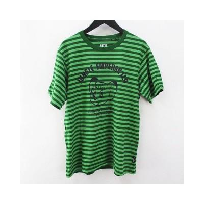 【中古】ユニクロ UNIQLO 半袖 カットソー Tシャツ M 緑 グリーン系 ボーダー 綿 コットン プリント  メンズ 【ベクトル 古着】