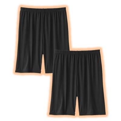 ウォームコア 吸湿発熱 静電防止 3分丈オーバーパンツ2枚組(M~L) (レギンス・スパッツ・オーバーパンツ)Leggings