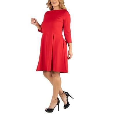 24セブンコンフォート レディース ワンピース トップス Knee Length Fit N Flare Plus Size Dress with Pockets