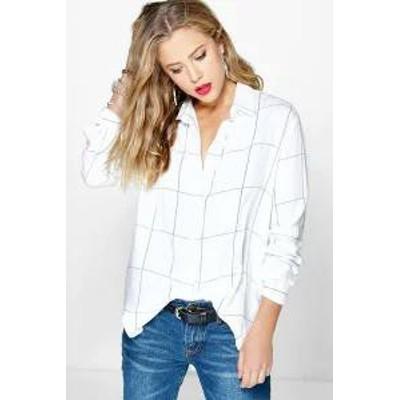 Boohoo レディースシャツ Boohoo Large Grid Oversized Shirt white