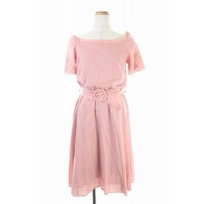 【中古】アプワイザーリッシェ 18SS カットワーク刺繍ワンピース ロング インナー付き 半袖 1 ピンク レディース
