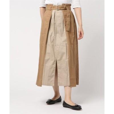 スカート 綿ツイル 配色タックスカート