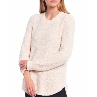 カルバンクライン レディース パーカー・スウェット アウター Marled Nubby Knit Crew Neck Long Sleeve Hi-Low Sweater Blush/White