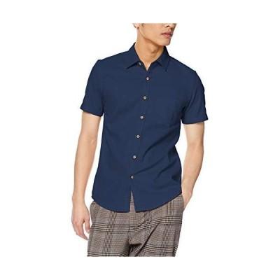 インプローブス 綿麻シャツ パナマシャツ 半袖 ストレッチ シャツ メンズ ネイビー S サイズ
