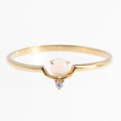K10 ダイヤモンド オパール 金 リング 指輪 ニッケルフリー アレルギー