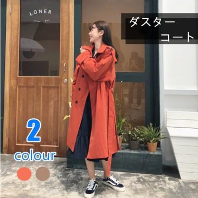トレンチコート レディース 韓国風 大きいサイズ 無地の色 ロング丈 やせが目立つ 洗いやすい ひざを越す ゆったり