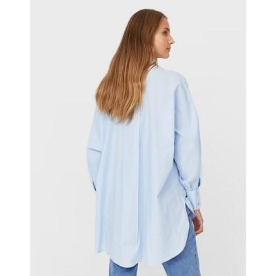 ストラディバリウス レディース シャツ トップス Stradivarius oversized poplin shirt in blue Blues