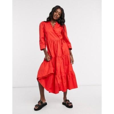 グラマラス レディース ワンピース トップス Glamorous midaxi dress with ruffle wrap front and tiered skirt in cotton