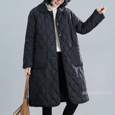 コート レディース 秋冬コーデ キルティングコート ロング丈 長袖 ポケット付き アウター 大きいサイズ 中綿コート ガウンコート 軽量 羽織り 防寒