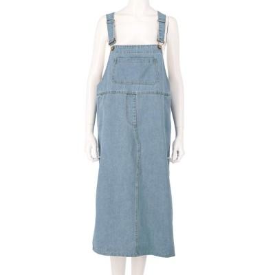 anap mimpi デニムオーバーオールスカート(ライトブルー)