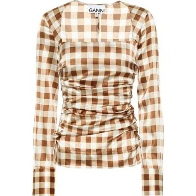 ガニー Ganni レディース ブラウス・シャツ トップス Checked stretch-silk satin shirt Toffee