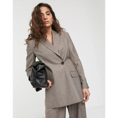 エイソス レディース ジャケット・ブルゾン アウター ASOS DESIGN wrap suit blazer in gray pinstripe