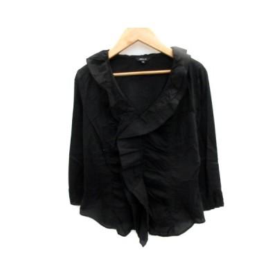 【中古】コムサイズム COMME CA ISM シャツ ブラウス 七分袖 フリル M 黒 ブラック /SM42 レディース 【ベクトル 古着】