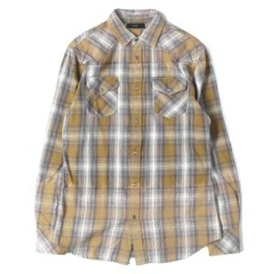 DIESEL ディーゼル シャツ 18AW USED加工 ウエスタン グラデーション チェック フランネル シャツ カーキ×グレー S 【メンズ】【中古】