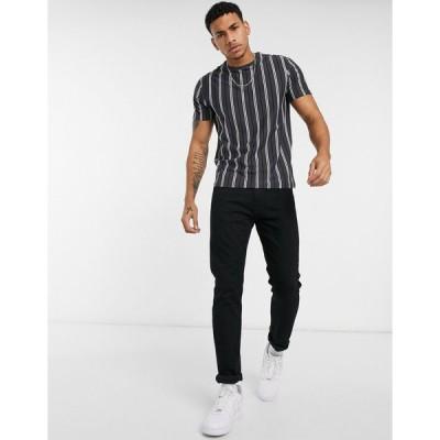ニュールック 半袖Tシャツ メンズ New Look striped t-shirt with print in dark grey エイソス ASOS グレー 灰色