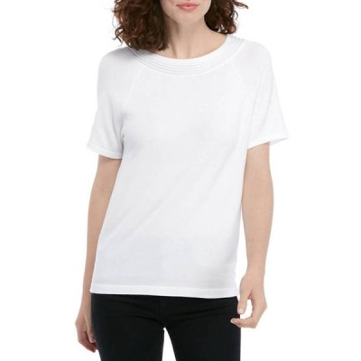 キム ロジャース レディース ニット・セーター アウター Women's Short Sleeve Texture Yoke Solid Sweater