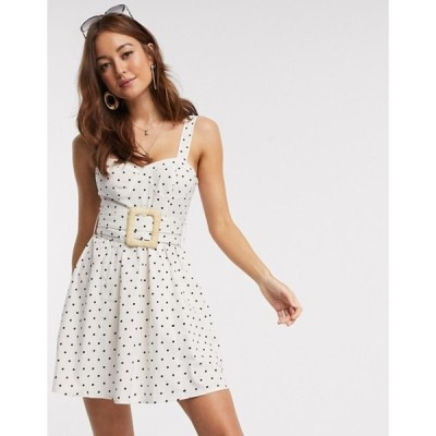 エイソス レディース ワンピース トップス ASOS DESIGN mini skater sundress with wicker belt in polka dot