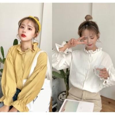 ブラウス レディース トップス フリルブラウス 長袖 上品 インナー フリル袖 流行り 韓国服 ガーリー キュート 可愛い