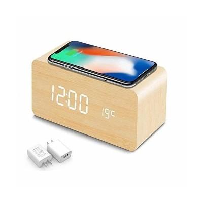 目覚まし時計 qi 置時計 時計 おしゃれ 卓上 時計 置時計 人気 目覚まし時計 光 ワイヤレス充電器 QI充電器ワイ