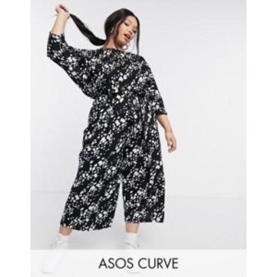 エイソス レディース ワンピース トップス ASOS DESIGN curve tie waist jumpsuit in irregular mono animal Mono animal