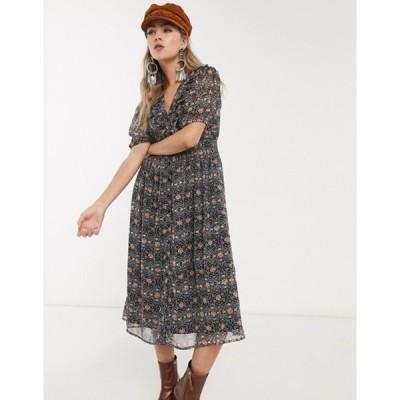 オブジェクト レディース ワンピース トップス Object puff sleeve midi dress in paisley print