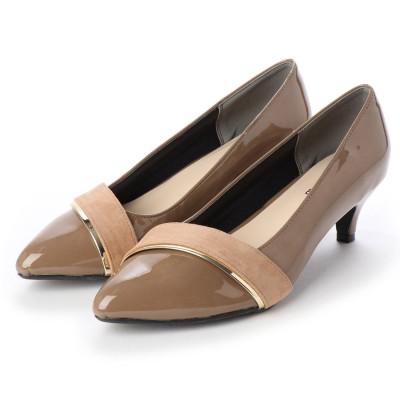 マシュガール masyugirl 【3E/幅広ゆったり・大きいサイズの靴】 メタリック×スエードターバン使いミドルヒールパンプス (オークエナメル) SOROTTO