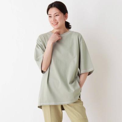 シューラルー SHOO-LA-RUE USAコットン配色ステッチラウンドヘムTシャツ (ライトグリーン)