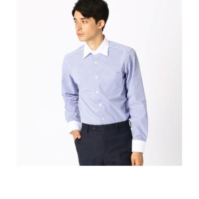 《イージーケア・抗菌防臭加工》 カラーチェック/ストライプ クレリックワイドカラーシャツ