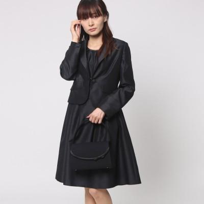 ブラックギャラリー BLACK GALLERY シャンタン素材 テーラードカラージャケットカラーフォーマルアンサンブル (ブラック) [ブラックフォーマル 喪服 礼服]