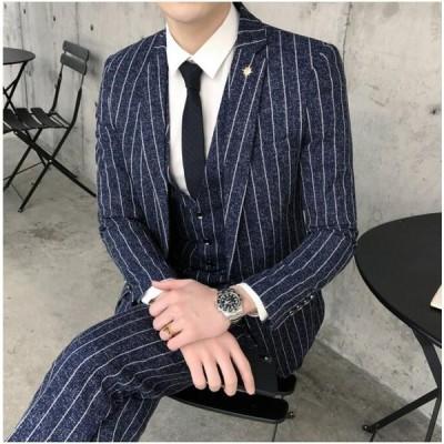 メンズスーツ ストライプ 紳士服 4色入 3点セット ジャケット&ズボン&ベスト 細身 韓国風 結婚式 宴会 通勤 OL 入学式 卒業式 入園式