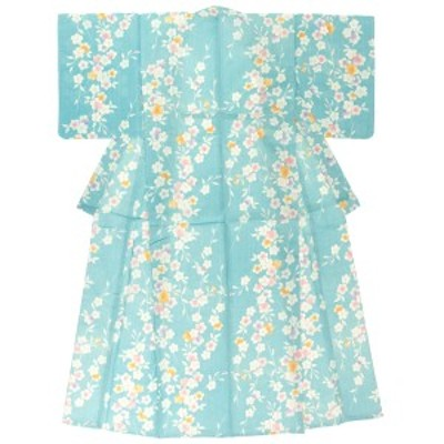 レディース浴衣 bonheur saisons ボヌールセゾン 水色 ライトブルー 桜 さくら 花 フラワー 綿麻 変わり織 夏祭り 花火大会 女性用 仕立