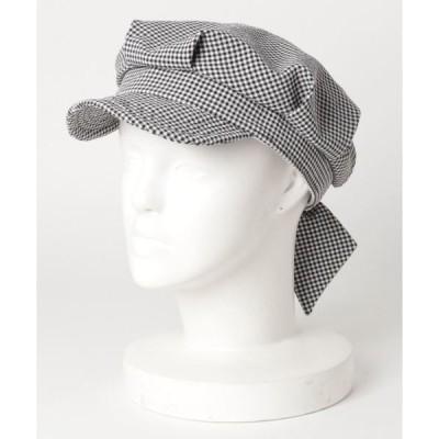 帽子 キャスケット ▽ GC Seersucker Ribbon WO ギンガムシアサッカーバックリボンキャスケット