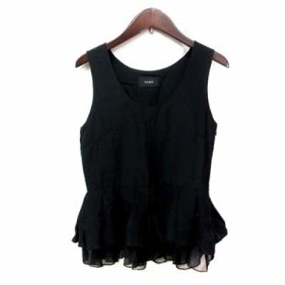 【中古】ジーヴィージーヴィー シャツ ブラウス ノースリーブ チュール ペプラム ティアード 絹 シルク 34 黒