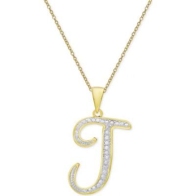 """メイシーズ Macy's レディース ネックレス Diamond Accent Script Initial 18"""" Pendant Necklace in Silver Plate, Gold Plate & Rose Gold Plate J/Gold"""